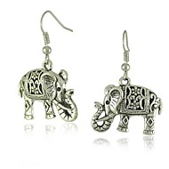 Unique Tibetan Silver Hollow Carved Elephant  Dangle Fashion Vintage Earrings