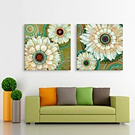 E-HOME® Stretched LED Canvas Print Art  Flowers Flash effect LED Set of 2