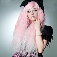 süße rosa lang leicht gewellt Partei Haarperücken mit Seite bang