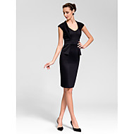 Cocktail Party Dress - Ruby/White/Black Sheath/Column Queen Anne Knee-length Cotton