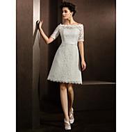 A-line/Princess Wedding Dress - Ivory Knee-length Bateau Lace