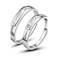 Anéis Casais Diamante Prata Prata Prata As cores de embelezamento estão disponiveis na imagem.