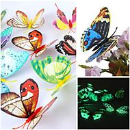 Adesivos de parede decalques de parede 3d, parede borboleta pvc belas cores luminosas adesivos (mistura aleatória) (12 pcs)