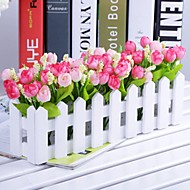 "11.8""L* 5.1""H Country Style Multicolor Tulips in White Fence(Assorted Colors)"
