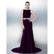 TS Couture® Dress Plus Size / Petite A-line Bateau Court Train Velvet with Beading / Pearl Detailing / Sash / Ribbon