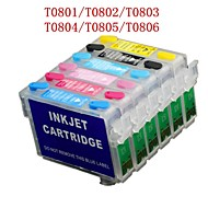bloom® t0801-t0806 refill blekkpatron til Epson bilder R265 / R360 / R285 / p50 / px820 / PX700W / px50 (6 farge 1set)
