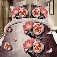Bettbezug-Set, hochwertige 3D Baumwollbettwäsche 4pcs Bettbezug Blätter Kissen einzigen Doppelbett Wohntextilien
