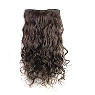24-дюймовый 120г долго темный коричневый жаропрочных синтетического волокна вьющиеся клип в наращивание волос с 5 клипов