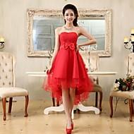 칵테일 파티 드레스 - 오픈 백 A-라인 / 공주 끈없는 스타일 비대칭 쉬폰 / 레이스 와 리본 / 레이스 / 허리끈/리본
