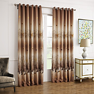 Two Panels Brown Leaf Polyester Blackout