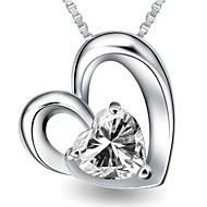 Ladies' Silver Heart Pendants With Cubic Zirconia