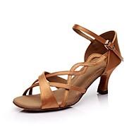Customizable Women's Dance Shoes Latin Satin Customized Heel Black/Brown/Other