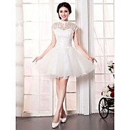 A-line Wedding Dress-Short/Mini High Neck Lace / Tulle