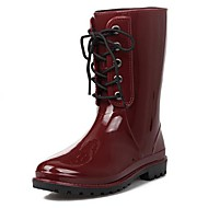 Women's Spring / Fall / Winter Rain Boots / Round Toe Latex Casual Chunky Heel Lace-up Black / Beige / Burgundy