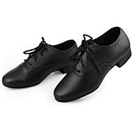 Non Customizable Men's Dance Shoes Modern Leather Cuban Heel Black