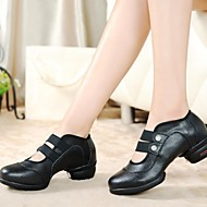 Non Customizable Women's Dance Shoes Dance Sneakers Leather/Fabric Low Heel Black/Red