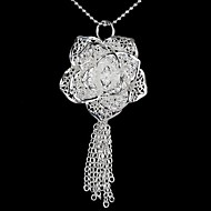 Rose&Tassel Silvering Pendent Necklace (1Pc)