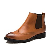 Men's Spring / Fall / Winter Fashion Boots / Pointed Toe Leather Casual Flat Heel Slip-on Black / Brown / Red
