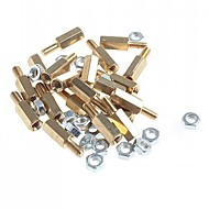 Brass Threaded Stand-Off Hex Screw Pillars with Nuts (M3 x 10mm + 6 / 20-Piece)
