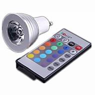 GU10 3 w 300-330lm RGB LED žárovka lampa s dálkovým ovládáním (AC90 ~ 240V)