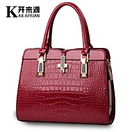 KLY ® 2015 new bright patent leather crocodile pattern shoulder portable handbag European style handbag