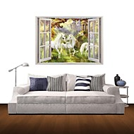 3D Wall Stickers Wall Decals, White Horse Unicorn Decor Vinyl Wall Stickers