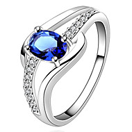 Ring Birthstones Wedding / Party / Daily / Casual / Sports Jewelry Silver Plated Women Statement Rings7 / 8 Silver