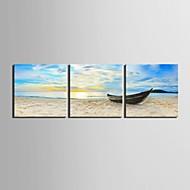 e-home® feszített vászon művészet a hajó dokkolt a parton dekoráció festés sor 3
