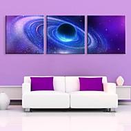 e-home® strukket ledet lerret kunst nebula flash effekt ledet blinkende optisk fiber print sett med 3
