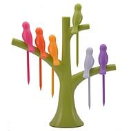 neje Vogel auf dem Baum Form Birdie Fruchtgabelhalter-Set