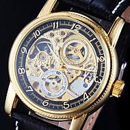 Herren Armbanduhr / Mechanische Uhr Automatikaufzug Transparentes Ziffernblatt PU Band Schwarz Marke