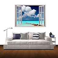 3D Wall Stickers Wall Decals, Sea Blue Sky And White Clouds Decor Vinyl Wall Stickers