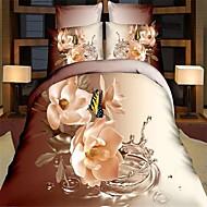 3d moda confortável cama print floral de quatro peças