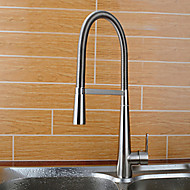 Contemporary Bar/­Prep Deck Mounted Pre Rinse with  Ceramic Valve Single Handle One Hole for  Brushed , Kitchen faucet