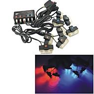 belastninger ™ 12v bil kjøretøy 16 LED krise advarsel blinkende strobelys - rød & blå