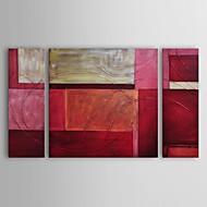 뻗어 프레임 3 손으로 그린 캔버스의 빨간색 집합에 유화 현대 추상 골드