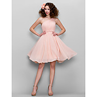 Honeymoon / Cocktail Party / Formal Evening / Sweet 16 Dress - Blushing Pink Plus Sizes / Petite A-line One Shoulder Knee-length Chiffon