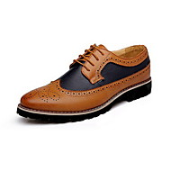 Men's Spring Summer Fall Winter Comfort Bullock shoes Leather Casual Low Heel Lace-up Black Brown Yellow