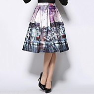Women's Vintage Casual/Print/Party Knee-length Skirts , Cotton/Polyester/Cotton Blends Micro-elastic Multi-color