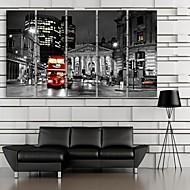 e-Home® opgespannen doek kunst stad straat decoratie schilderij set van 5