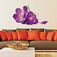 Wall Stickers Wall Decals, Romantic Purple Flower PVC Wall Stickers
