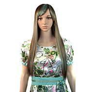 Long Straight Side Bang Party Wigs Light Brown Green Mixcolor