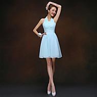 Short/Mini Bridesmaid Dress - Sky Blue Sheath/Column Halter
