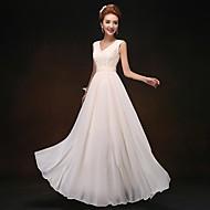 신부 들러리 드레스-시스/칼럼 바닥 길이 V-넥 쉬폰