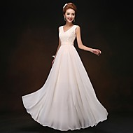 Floor-length Chiffon Bridesmaid Dress - Lace-up Sheath / Column V-neck with Lace