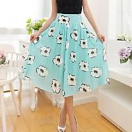 Women's Blue/White/Black Skirts , Casual/Print Midi