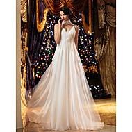 LAN TING BRIDE Sheath / Column Wedding Dress Simply Sublime Floor-length Spaghetti Straps Chiffon with Beading Draped Flower
