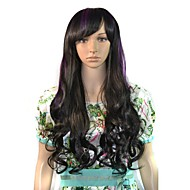 Long Wavy Party Wig Black Purple Mixcolor Side Bang