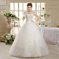 Ball Gown Wedding Dress - White Floor-length Off-the-shoulder Lace / Tulle