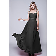 Formal Evening Dress Sheath / Column Spaghetti Straps Floor-length Chiffon with Criss Cross / Sequins